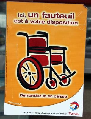 Hinweis auf die Möglichkeit, einen Rollstuhl zu leihen