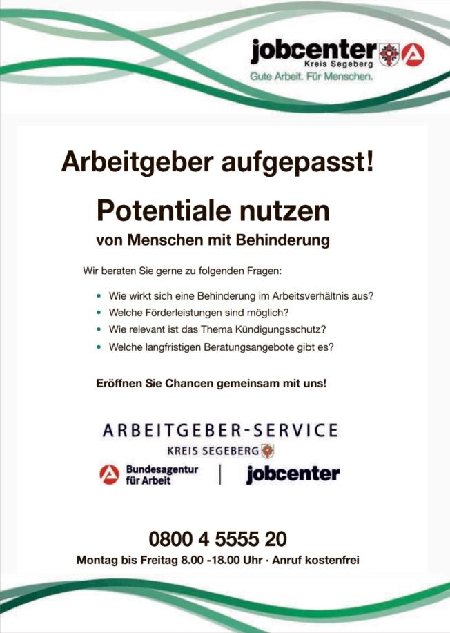 Überarbeitete Anzeige des Jobcenters zur Beschäftigung von Menschen mit Behinderung