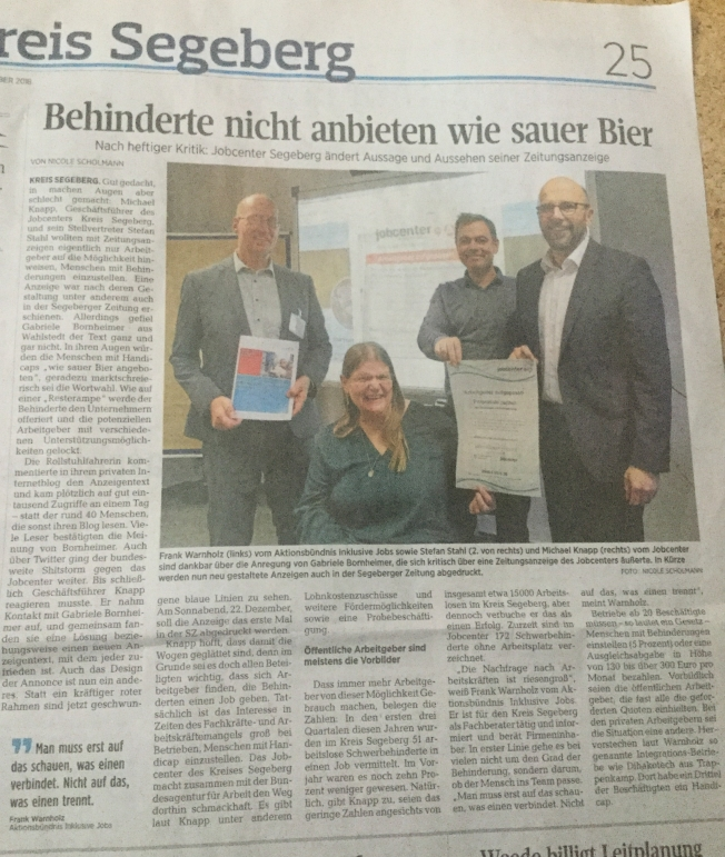 Artikel Segeberger Zeitung, 20.12.2018